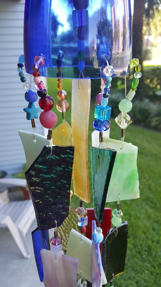 Wind Chime Sun Catcher Stained Glass Upcycled Wine Bottle Top