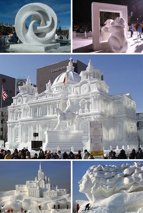 Creative Snow Sculptures and Structures