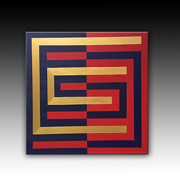 Blue Red gold,  Contemporary art, Abstract Original Painting, Geometric Acrylic Painting, Large Wall Art, Modern Wall Decoration, 32''x32''