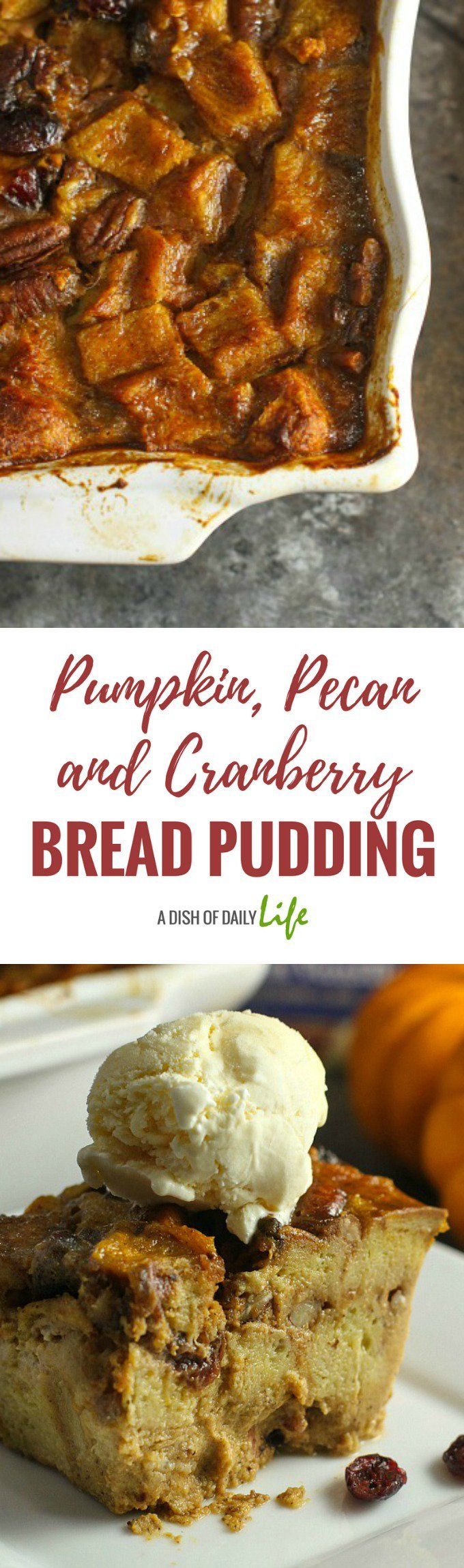 Pumpkin, Pecan and Cranberry Bread Pudding...this fun and festive dessert is the perfect finishing touch to this elegant dinner party menu for the holidays! #dessert #breadpudding #pumpkin #cranberries #falldessert #ad @hphood