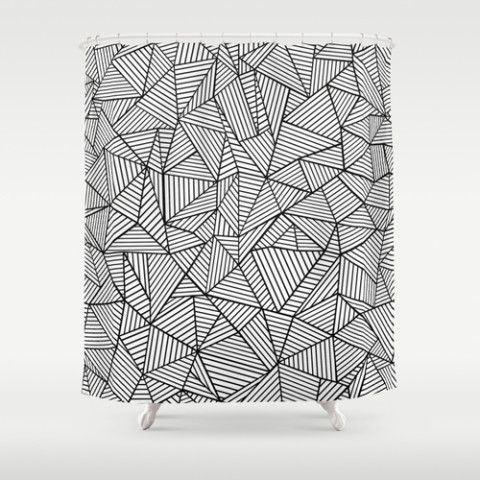 Abstraction Lines Black And White Shower Curtain By Project M