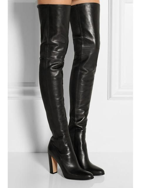 14208eec92 Plain Leather Black Thigh High Boots Square Heel Round Toe Zip Over Knee  High Boots Autumn Shoe Fashion Motorcycle Booties Women