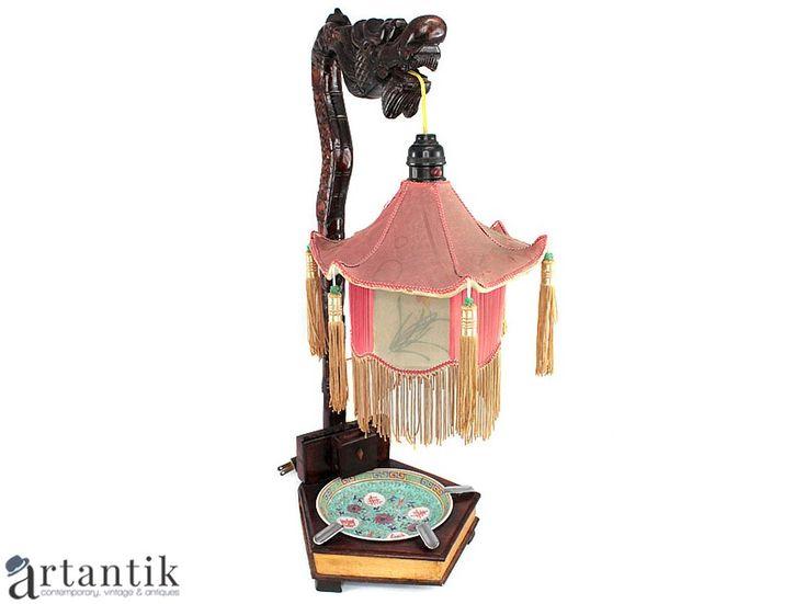 Veche  lampă de birou și scrumieră, China, antichitati chinezesti, arta chinezeasca/ Antique desk lamp and ashtray, China, chinese antiques, chinese art/ 中国古董,  中国艺术