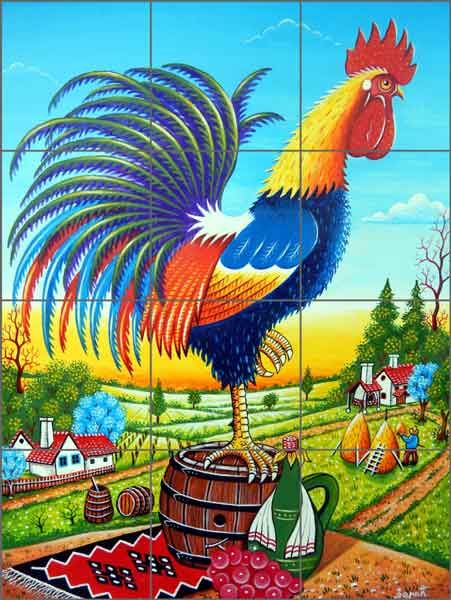 13 best images about rooster backsplash designs on for A perfect day mural