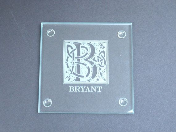 Glass Coaster Set of 4 - Personalized Glass Coaster Set - Engraved Custom CLEAR Drink Coaster Set