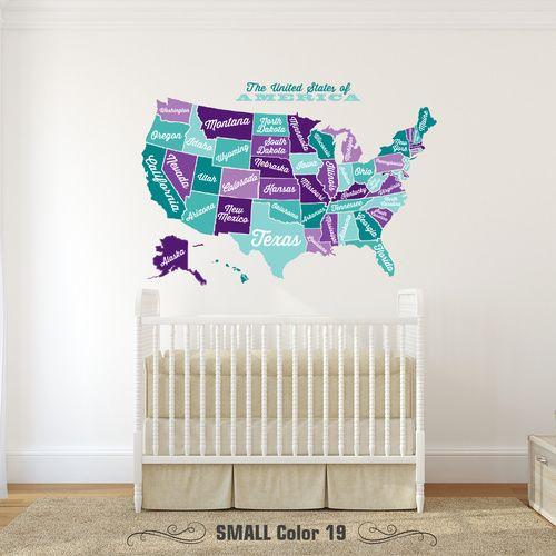 USA Wall Decal Map Vintage Retro | Wall Murals Children & Nursery ...