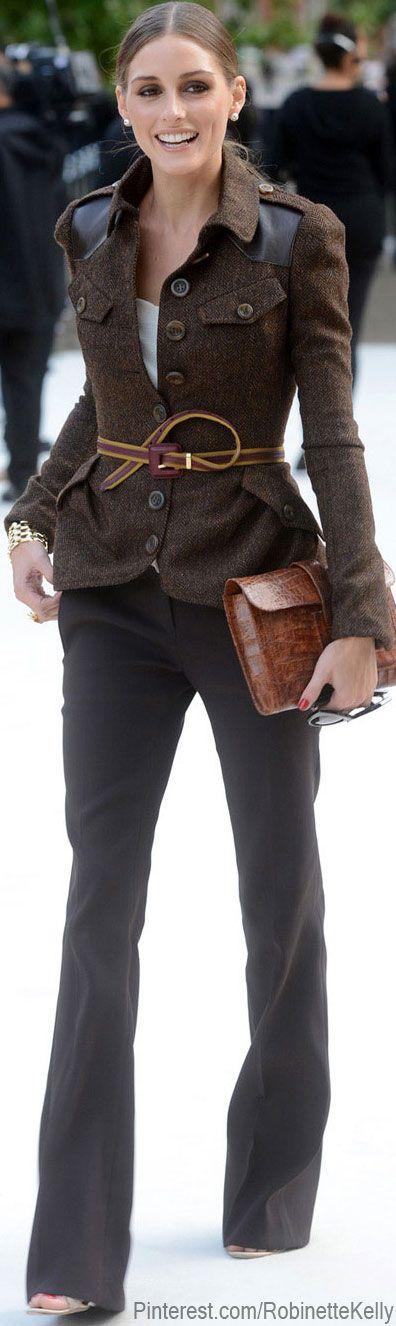 Olivia Palermo in slammin brown military jacket