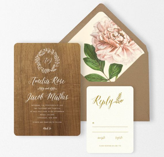 Wood Wedding Invitations Gold Calligraphy Blush by oakandorchid, $15.00