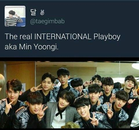 Yoongi with Boys24 kids. I was looking at the picture and was like ohhh they are so cute then I looked in the middle and there goes (BTS)SUGA/min yoongi