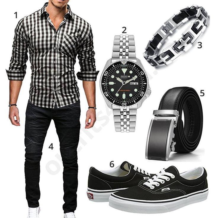 Schickes Männer-Outfit mit kariertem Merish Hemd und schwarzer Jeans, Seiko Herrenuhr, Ostan Edelstahlarmband, Ledergürtel und Vans Sneakern.