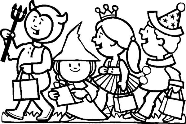 Halloween Day Childrens Celebrating Halloween Day Coloring Page