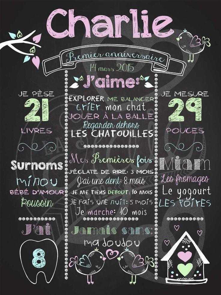 Affiche personnalisée 1er anniversaire Love shack (rose) | 28,00$ #chalkboard