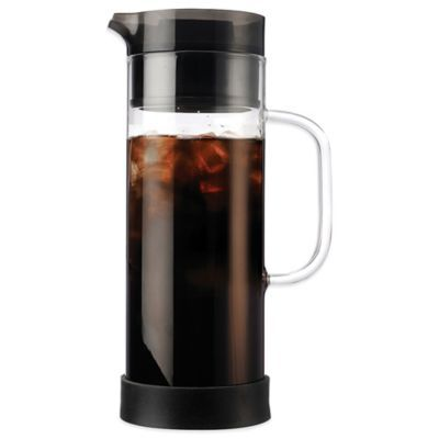 This sleek and elegant manual iced coffee maker allows you to cold brew and directly serve your favorite coffee from a 50-oz. borosilicate glass carafe. Comes with a convenient flavor mixer for customizing taste and a stainless steel brew filter.