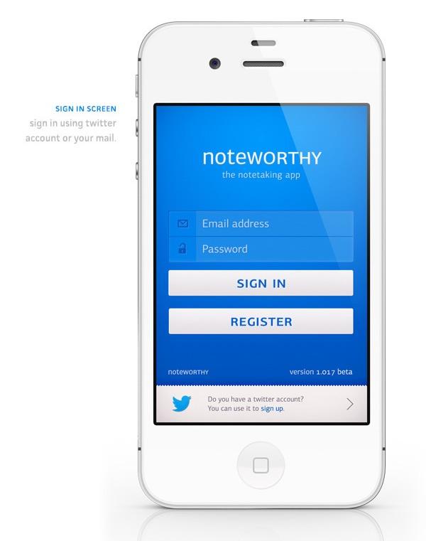 #UIdesign - Noteworthy app concept