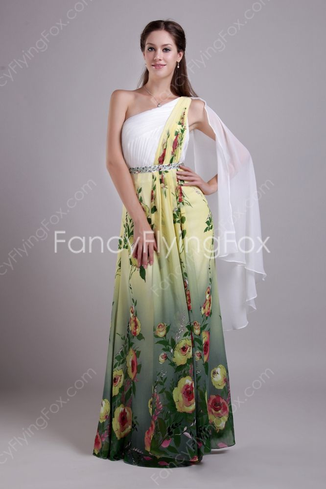 Special Asymmetrical Shoulder A-line Full Length Printed Flowers Evening Maxi Dresses With Ribbon