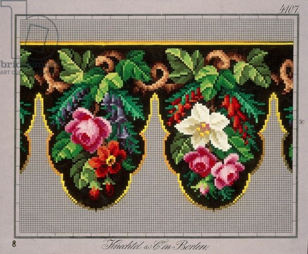 Pelmet pattern with roses, wisteria, poppies and vine leaves, 19th century