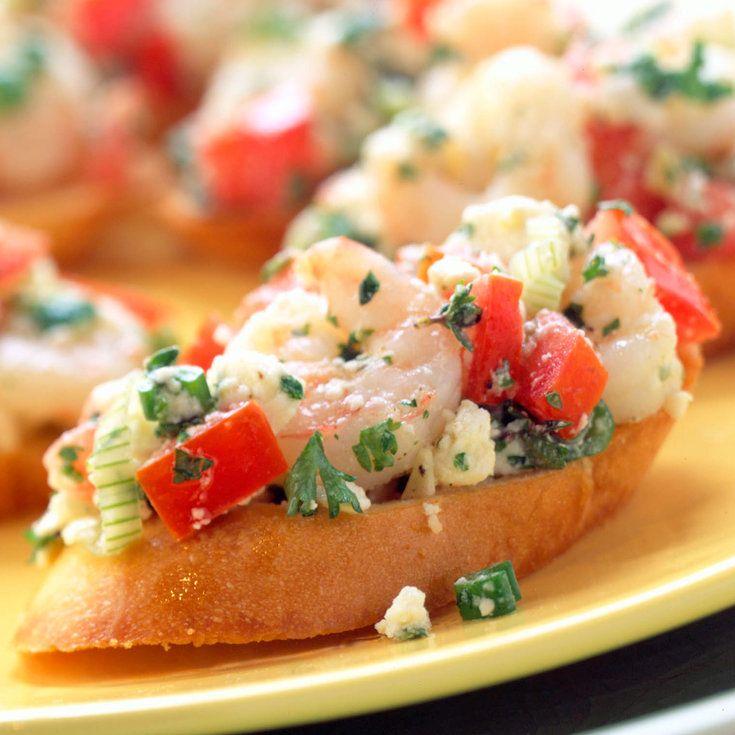Greek Shrimp Bruschetta - Easy Coastal Summer Appetizers - Coastal Living