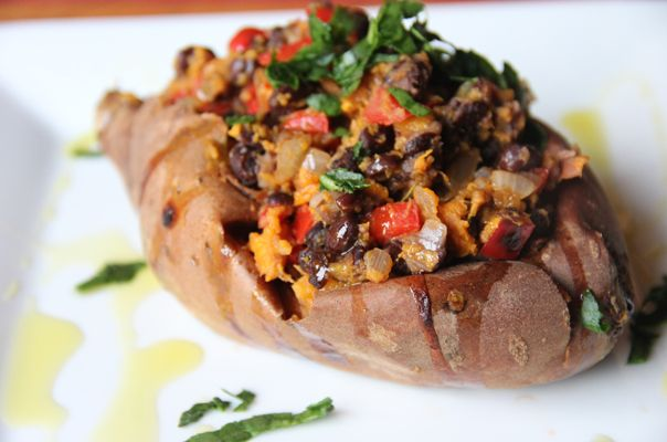 Mexican Sweet Potato. Healthy sweet potato, black beans, onion, bell pepper and garlic combine for a yummy side dish. Serves 2 for a meal, or four as a side dish.