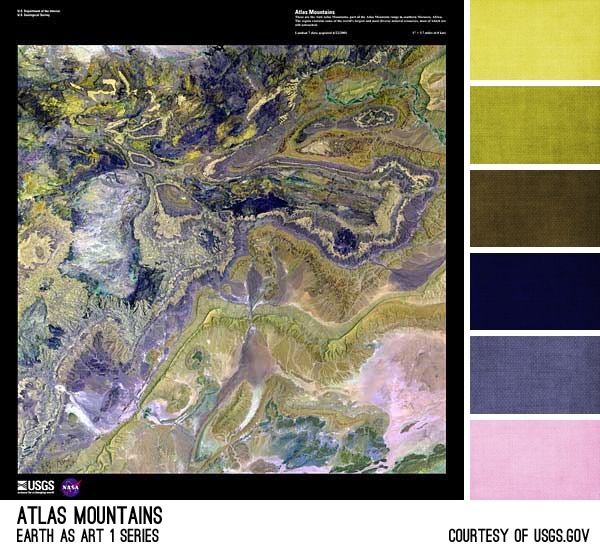 Atlas Mountains Palette - inspired by the Earth As Art photos from the USGS, created by Brandi Hussey (www.brandigirlblog.com) for the 3rd Annual Challenge of Color (http://treasures-found.blogspot.com)
