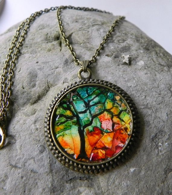 Round art Pendant Colourful Eggshell Mosaic by Artbycarriepaquette, $23.00