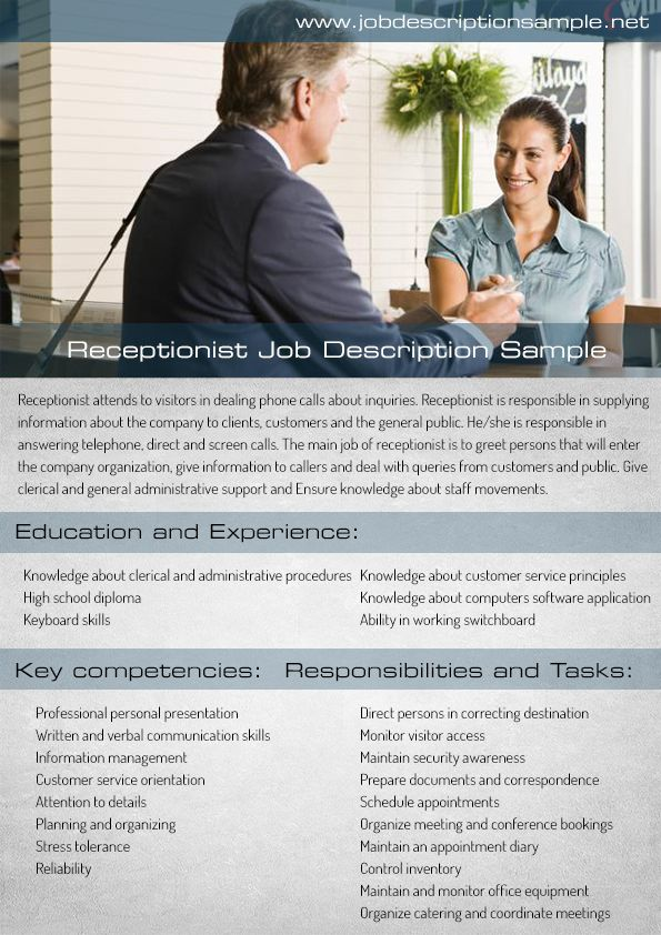 receptionist job description sample 10 best job description sample images