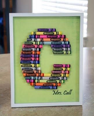 Crayon Letter Art. Want one! So cute!
