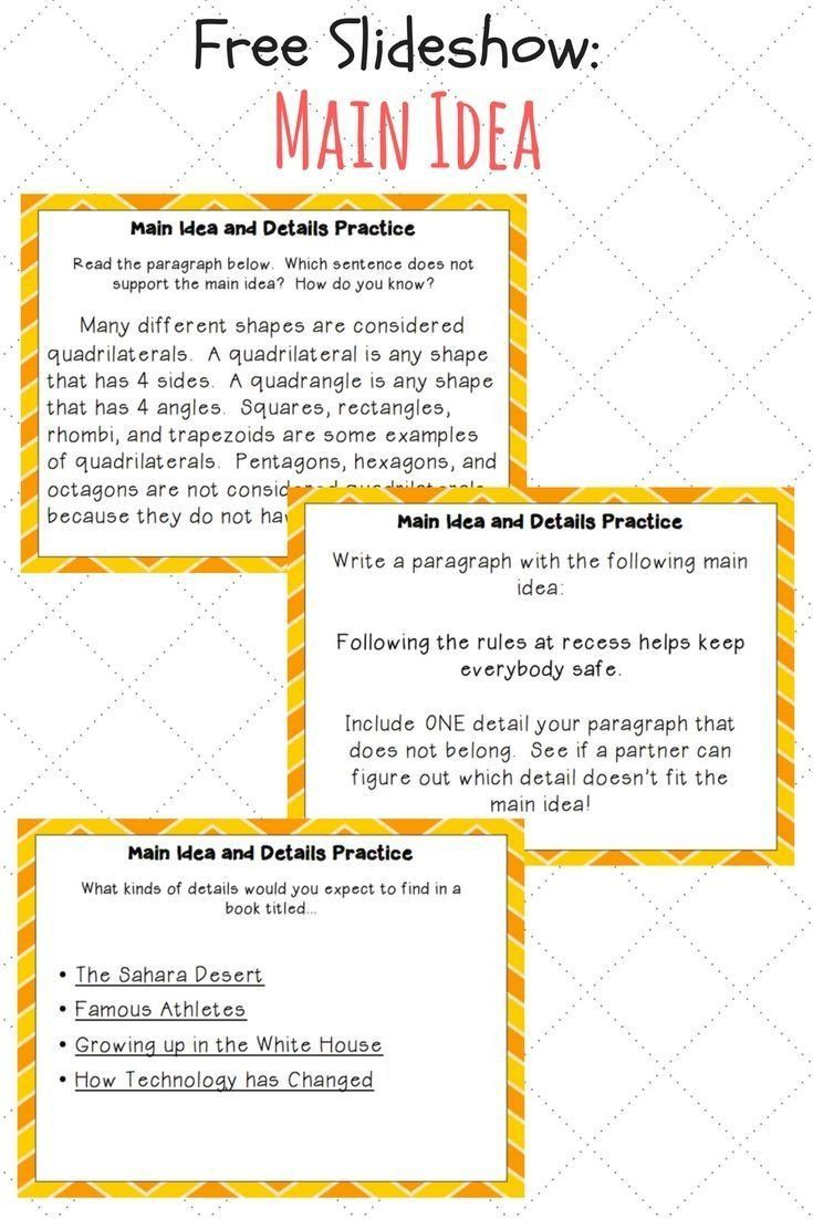 Main Idea Worksheet 4 Free Main Idea And Details Slideshow In 2020 Reading Comprehension Strategies 3rd Grade Reading Main Idea