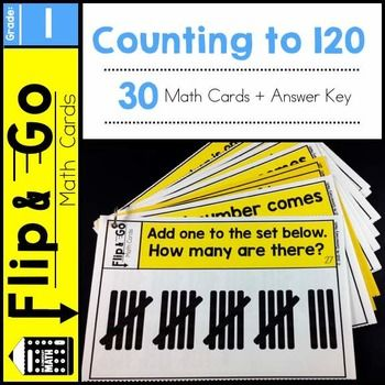 1st Grade Counting to 120 - Flip and Go Math Cards - 30 math task cards that reinforce counting and number sense. $