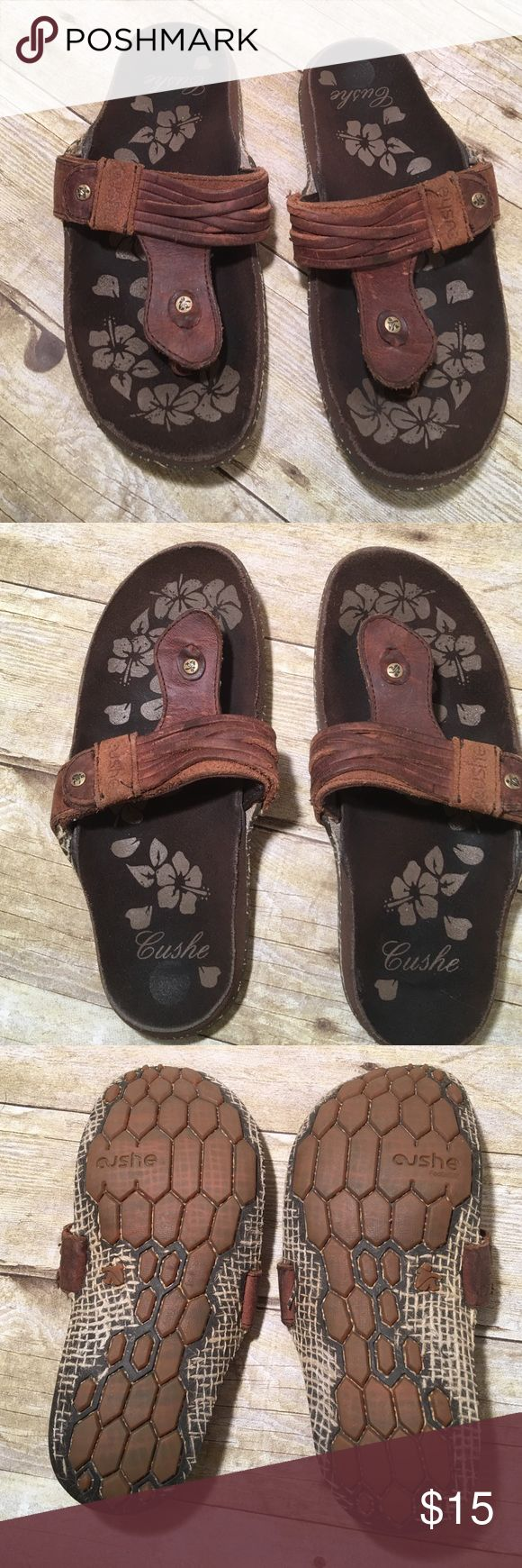 Cushe Manuka Strip Brown Leather Sandals Great pair of comfy sandals. Great non slip sole. In very good condition and comes from my non smoking home Cushe Shoes Sandals