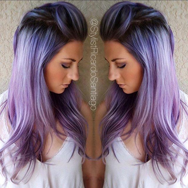 Purple hair color purple violet color melt with shadow root by Carlos Santiago hotonbeauty.com