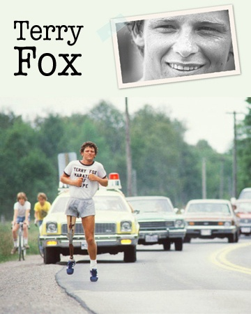 """Terrance Stanley """"Terry"""" Fox, was born in Winnipeg in 1958. In 1980, with one leg having been amputated to remove cancer, he embarked on a cross-Canada run to raise money and awareness for cancer research. Though his cancer forced him to end his run after 143 days and 5,373 km, and ultimately cost him his life, his efforts resulted in a worldwide legacy. The annual Terry Fox Run, first held in 1981, now involves millions of participants in over 60 countries and has raised over $500 million."""