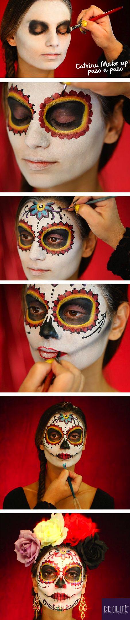 Cómo maquillar a La Catrina: paso a paso:  1.Se aplica una base de maquillaje blanca. 2.Se rellenan con maquillaje negro los círculos de los ojos. 3.Se maquilla de negro un triángulo sobre la punta de la nariz. 4.Con un pincel, dibuja cuadros negros sobre los labios a modo de diente. 5.Da profundidad al rostro aplicando negro alrededor de las aletas de la nariz. #Depilitè #MakeUp #Maquillaje #Haloween #Octubre #DíaDeMuertos #Brujas #Catrina