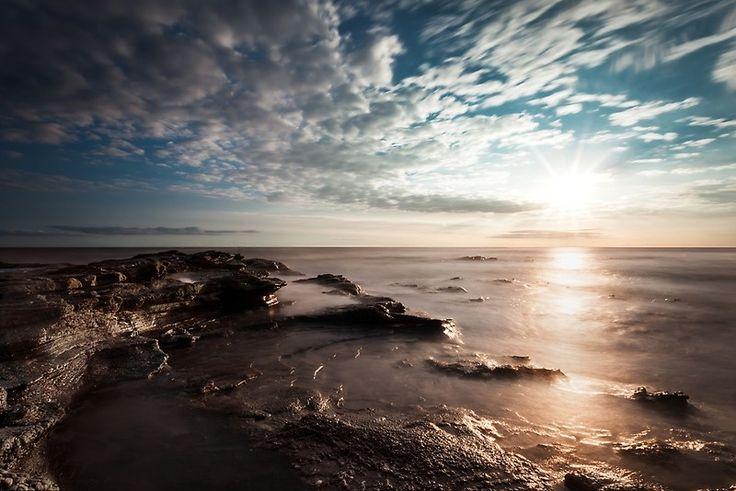 Cape Paterson Sunset, sunset, clouds, beautiful, holiday, beach, ocean, calm sea, rocks, rock pool