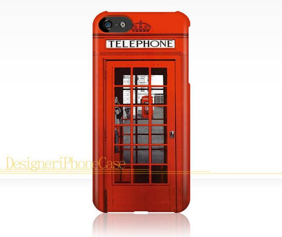London Telephone Booth iphone 5c case Vintage British Telephone box iPhone 5c case London iPhone 5c case Image Wrapped Around Edges by DesigneriPhoneCase, $14.99