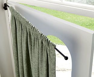 If you have ever tried to hang a door curtain from a standard pole, you will know why this drapery arm is so brilliant. It has a bracket that attaches to the wall