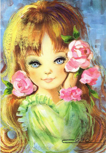 vintage 70s postcard of a big eyed girl