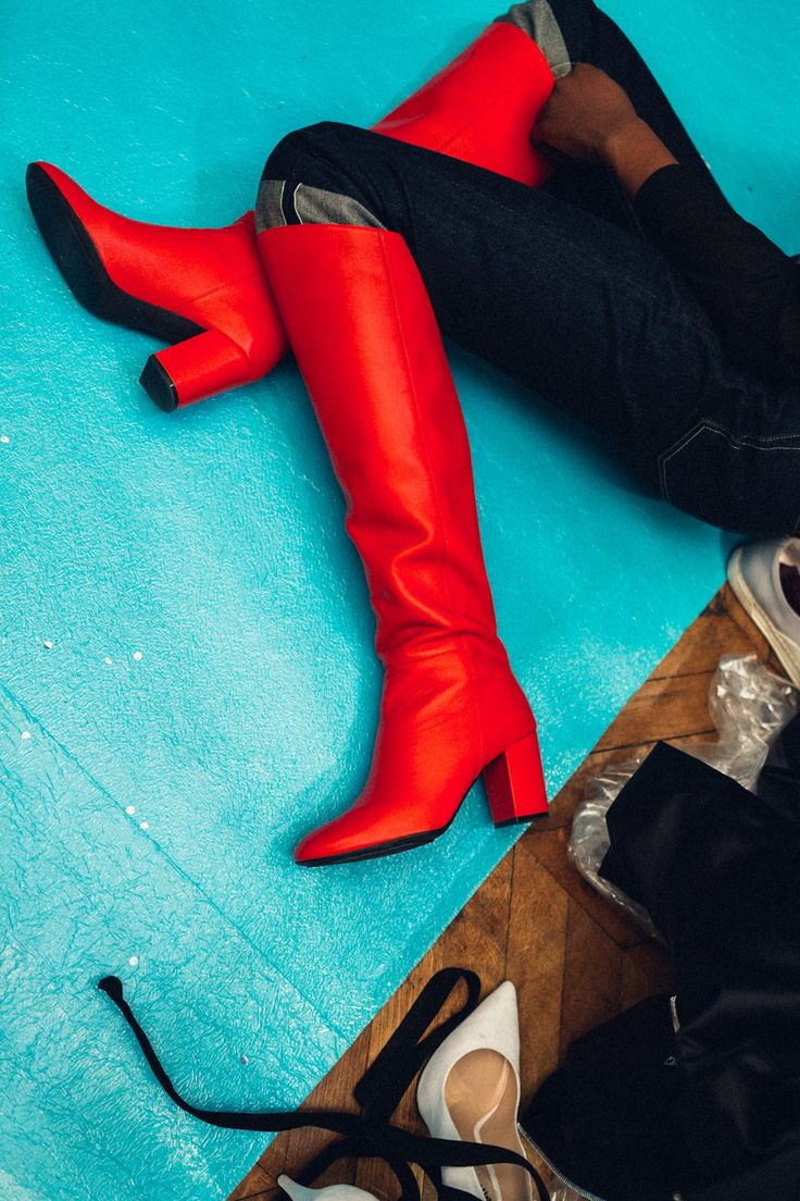 Off-White red knee high boots