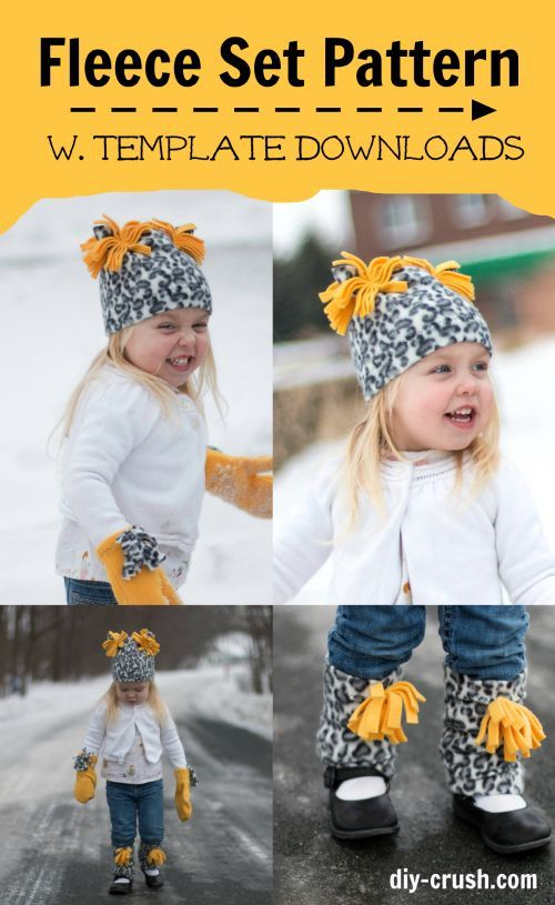 Get this free fleece mitten pattern along with the hat and leg warmers to sew this winter! These free fleece patterns are perfect to sew for a beginner.