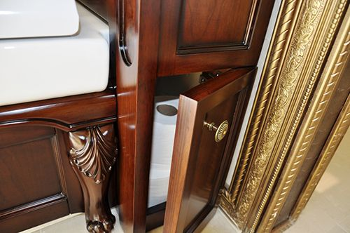Escala is an antique style traditional Bathroom toilet that embraces classic luxury in bathroom design. The antique style bathroom toilet features a sophisticated water-saving dual flush toilet and S-Trap design.   Toilet Features: 	 	 		Hand Carved Body from Oak Solid Wood 		Water Resistant Multi Layers Hand Stain 		Storage on Both Sides 		Soft Close Toilet Seat 		One Piece Toilet 		S Trap: 12 inch Rough In 		Eco Friendly 		Dual Flush Toilet (1.6 Gallon Full Flush/ 0.8 Gallon Half Flush)…