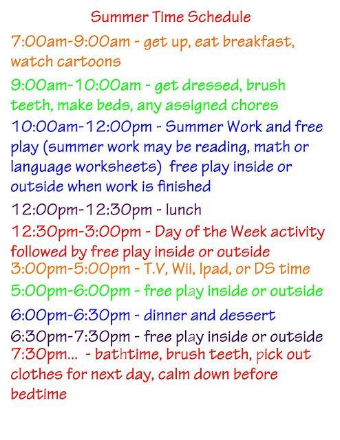 Summer Activities, Schedule, Ideas plus Free Printables Great daily schedule, activities, and ideas