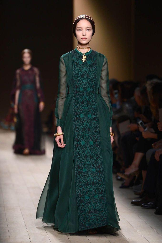 Valentino 2014, Emerald, long dress net work anarkali
