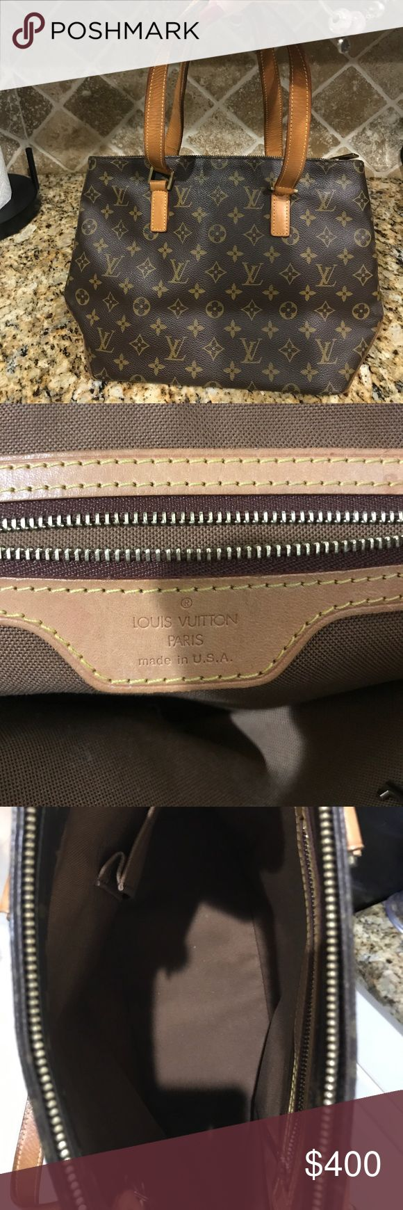 """Authentic Louis Vuitton Cabas Piano Excellent condition pre owned Shoulder Tote handbag by Louis Vuitton. Comes with dust bag, no box . (Purchased at the store in New Jersey by a friend). No scratches rips marks or tears. Some small marks on leather straps and bottom typical of all authentic Louis Vuitton's. Slight storage smell that would go away with use. This sweet baby is just siting in its dust bag longing for use. Great everyday bag.   Measures 13"""" across and 10 inches high…"""