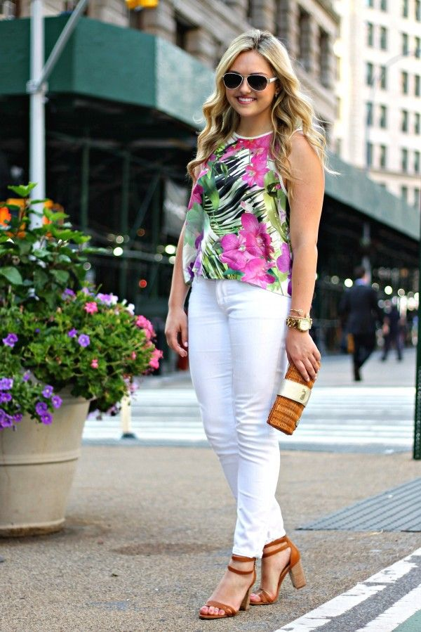 white denim floral top summer outfit