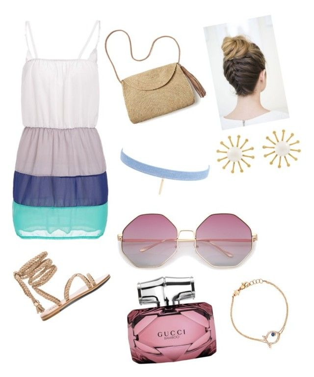 """""""Cute summer outfit"""" by surabikiki ❤ liked on Polyvore featuring Mar y Sol, Jules Smith, Meg Carter Designs, Gucci and Netali Nissim"""