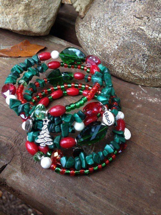 Christmas Spirt - Five Wrap Memory Wire Beaded Bracelet on Etsy, #Jewelry