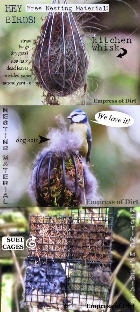 Offer safe nesting materials for birds #homemadebirdhouses #diybirdhouse