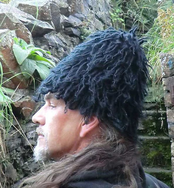 Thrum cap historically worn by English sailors in the 16th and 17th centuries.'Thrums' knitted in (Thrums are unspun raw wool tops). The cap is then heavily felted (keeping the lanolin) to make it weatherproof.