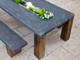 outdoor concrete table w/trough