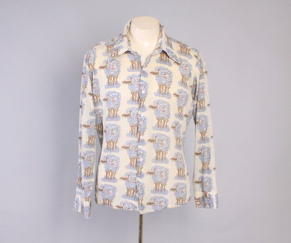 Vintage 70s SNOOPY SHIRT / 1970s Men's Red Barron Disco Shirt L