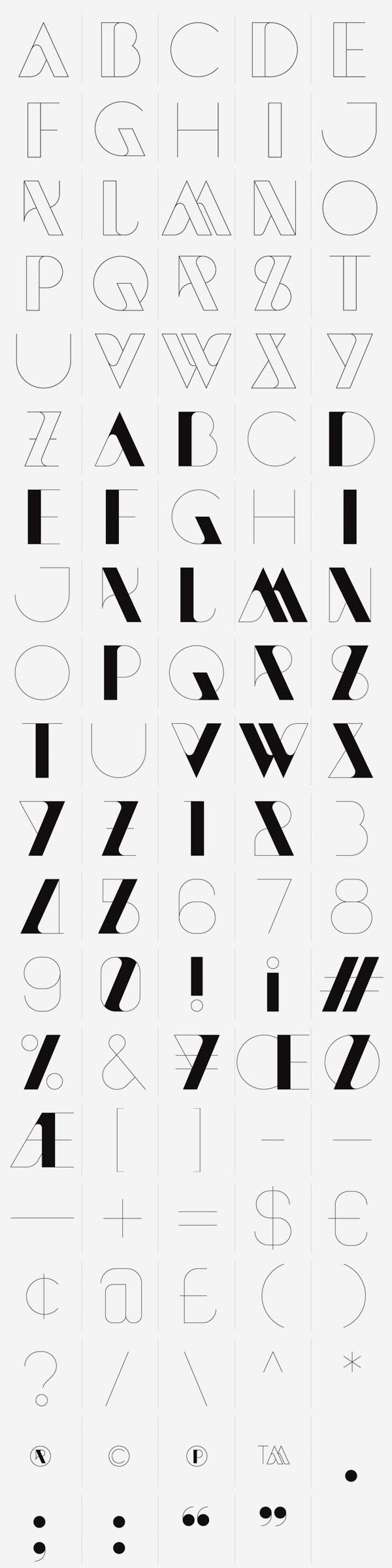 New Modern Font. A modern and experimental typeface designed by London-based design duo Sawdust. The New Modern font also includes illustrator files contai